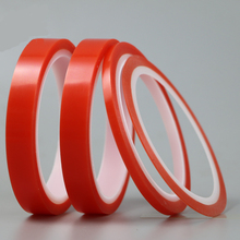 2rolls 1mm~5mm*5M Strong pet Adhesive PET Red Film Clear Double Sided Tape No Trace for Phone LCD Screen free shipping