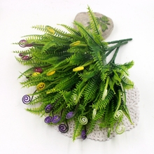 1Pcs/lot Plastic Greeen Ferns Weed Branches Artificial Flowers Bouquet Grass Fake Leaf Wedding Home Party Aquatic Decoration