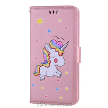 Glitter Flip Wallet PU Leather Case Pouch For ONEPLUS 5 ONE PLUS 5 Unicorn Horse Star Cartoon TPU Stand ID Card Photo Cover 1PCS(China)