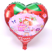 Lucky 10pcs/lot 45*45cm Heart Shaped Strawberry Shortcakes Balloon Aluminum Foil Balloons For Kids Classic Toys Birthday Party(China)