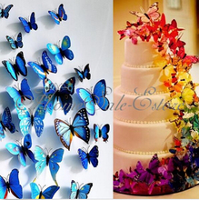 40 Pcs 7*6.2cm 3D Artificial Butterfly for Wedding Decorations Party Decorations Cake Accessory PVC Free Shipping H0115501