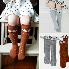 Newborn Toddler knee high sock Baby Boy bebe Girl fox Socks anti-slip cotton Cartoon Animal Cat leg warmers For newborns infant
