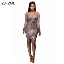 ZJFZML See Through Women Sequin Dresses Backless Vestidos Silver Bandage Dresses Bodycon Sexy Mini Party Night Club Dress Femme(China)
