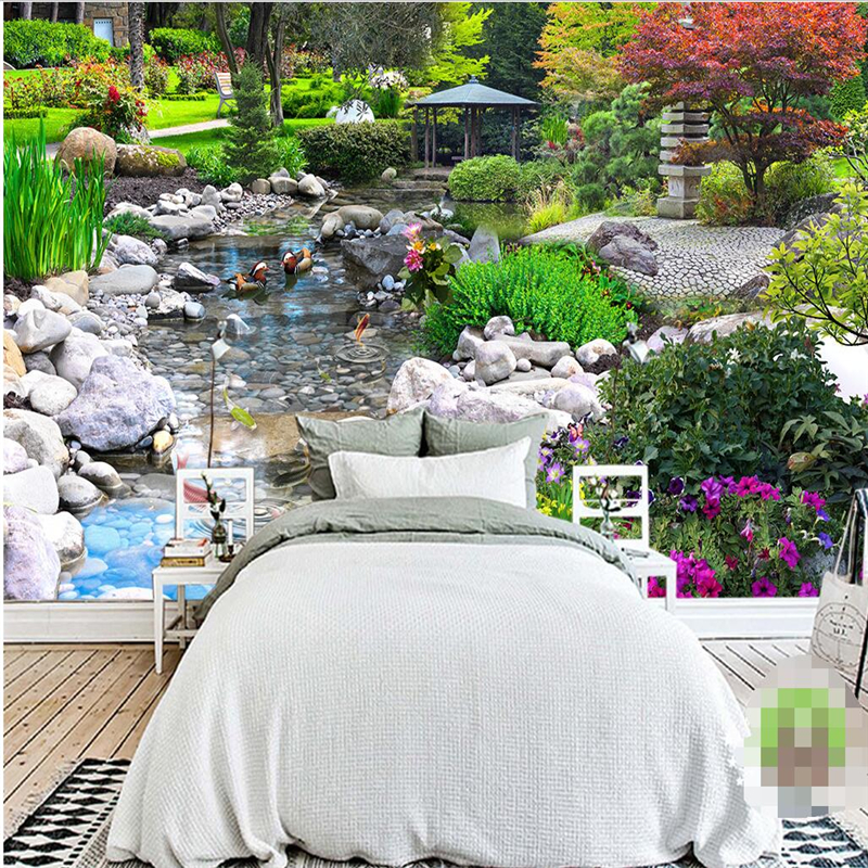 papel de parede Wall Paper Living Room Background Garden Green Plant Creek Wall Covering Home Decor Mural Wallpaper for walls 3D<br><br>Aliexpress