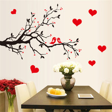 Red Love Heart Wall Stickers Bird Decal Bedroom Living room DIY Removable PVC Art wallpaper Beautiful home decor branches Decals