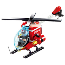 91Pcs Fire Helicopter Bricks Building Block Sets Models Educational Assemblage Boys Toys For Children birthday gift(China)