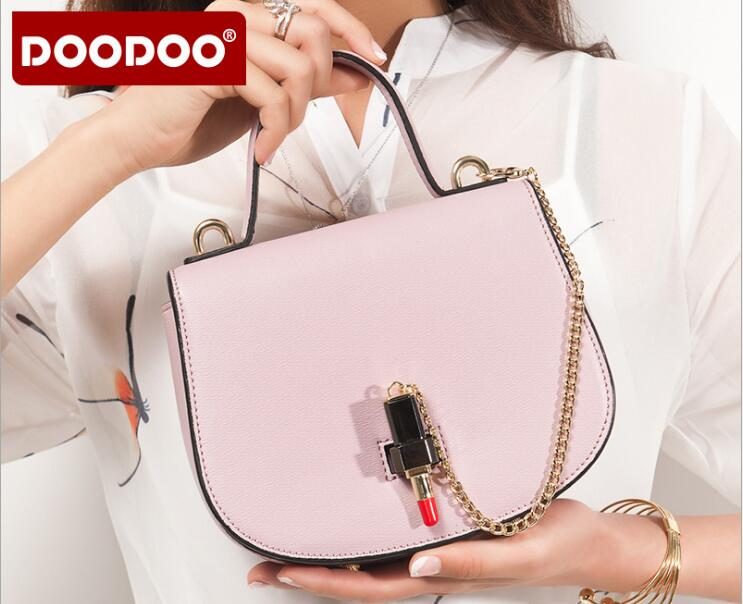 DOODOO Brand Hot Sale Women Bag Leather Handbag Ladies Messenger bags Creative Lipstick Lock Crossbody bag bolsa feminina FR387<br>
