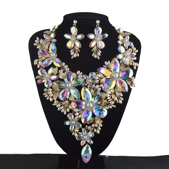 Flower Statement Necklace And Earrings Set Rhinestone Large Collar Bib Pendant