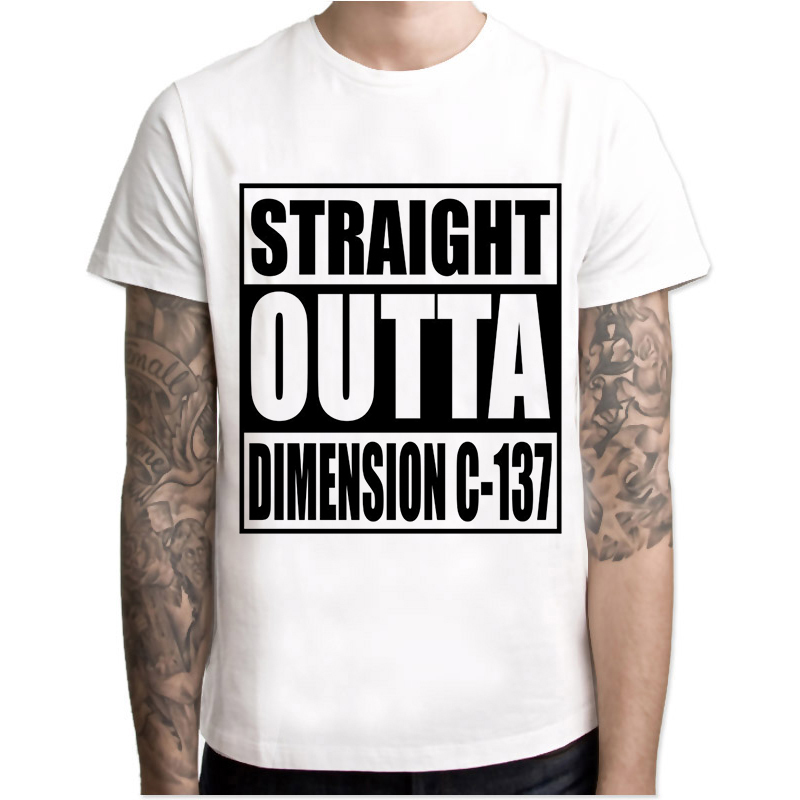 Rick /& Morty T-Shirt Straight Outta Dimension C-137 Men/'s Black Comedy T-Shirt
