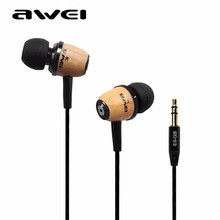 AWEI Original Q9 3.5mm Super Bass In-Ear Sport Earphones Wooden Headsets Noise Cancelling Universal for All Phones