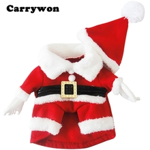 Carrywon Santa Claus Dog Costume Christmas Pet Dress Up Products With Hat Puppy Cat Supplies Outwear Clothes Apparel Belt Coats