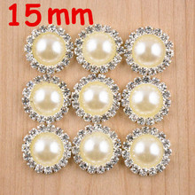 20pcs/lot High quality 15mm clear silver alloy button rhinestone accessories for craft hair accessory handmade free shippingPJ02