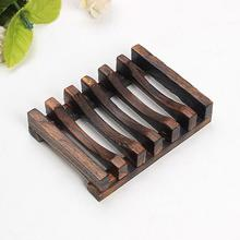 Trapezoid Wooden Handmade Bathroom Wood Soap Dish Box Container Tub Storage Cup Rack for Bath Shower Plate Bathroom(China)