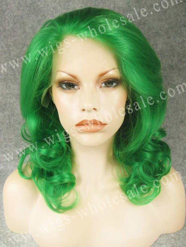 Medium Length Wavy Green Synthetic Side Part Cosplay Synthetic Lace Front Wig<br><br>Aliexpress