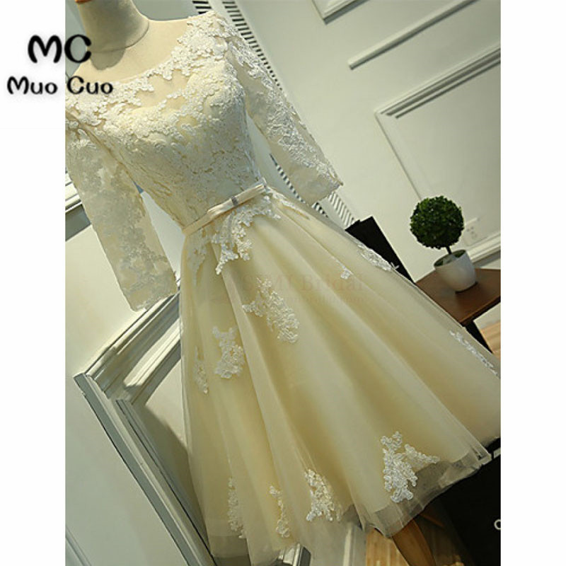 Scoop Knee-length Lace Tulle Ribbon Short Prom Cocktail Homecoming Dresses54