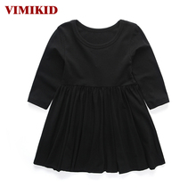 VIMIKID 2017 new girls spring dress party tutu dress children clothing princess dress kids toddler girl clothing solid color(China)