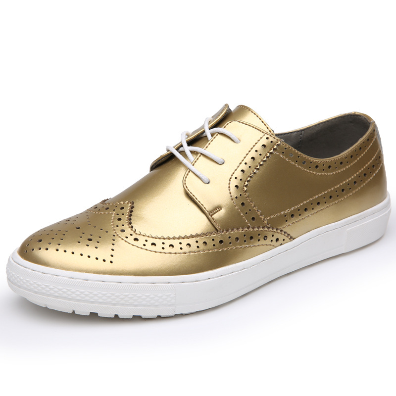 men personality gold silver soft leather brogue shoes party nightclub dress lace up carved bullock platform flats shoe oxfords<br>