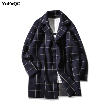 YoFaQC 2018 New Fashion Preppy Style Mens Trench Coat Slim Fit Lattice Trench Coat Men Casual Mens Coat Jacket Size M-2XL