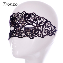 Tronzo Lattice Leaf Chinese Style Elegant Mask Masquerade Party Supplies Black Hollow Sexy Lace Mask For Ladies Free Shipping