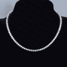 Fashion Clear CZ Tennis Necklaces Female 3 Prong Setting Classic anniversary Round Female Jewelry Factory Price N0018-WW-3-5