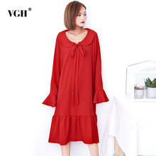 Buy VGH Autumn Ruffles Black Shirts Femlae Tunic Flare Sleeve Loose Big Size Lace Women Blouses Clothes Fashion Vestidos New for $21.93 in AliExpress store
