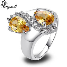 lingmei WholesaleWater Drop New Jewelry Fashion Women's Golden Citrine & White CZ  Silver Color Ring Size 7 8 9 10 Free Shipping