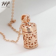 Top Quality Hollow-Out Cross Pattern Bottle Pendant Necklace Rose Gold Color Fashion Brand Jewelry for Women N357(China)