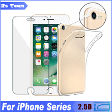 Ultra-thin Camera Lens Tempered Glass Screen Protector Film For iPhone 7 6 6S Plus 5 5C 5S SE 4 4S TPU Soft Silicon Case Cover