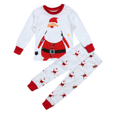 2pcs Unisex Children Christmas Clothing Set Baby Kids Santa Claus Printed Long Sleeve Xmas Pjs Set Infants Winter Clothes(China)