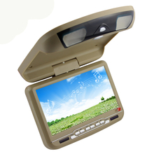 Free shipping 9inch car roof  dvd player with USB/SD/IR/FM/wireless game 180 degree rotatable screen built in speakers