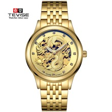 TEVISE Gold Watches Men China Dragon Mechanical Skeleton Rhinestones watch men Wrist Watch Waterproof Male Clock relojes hombre