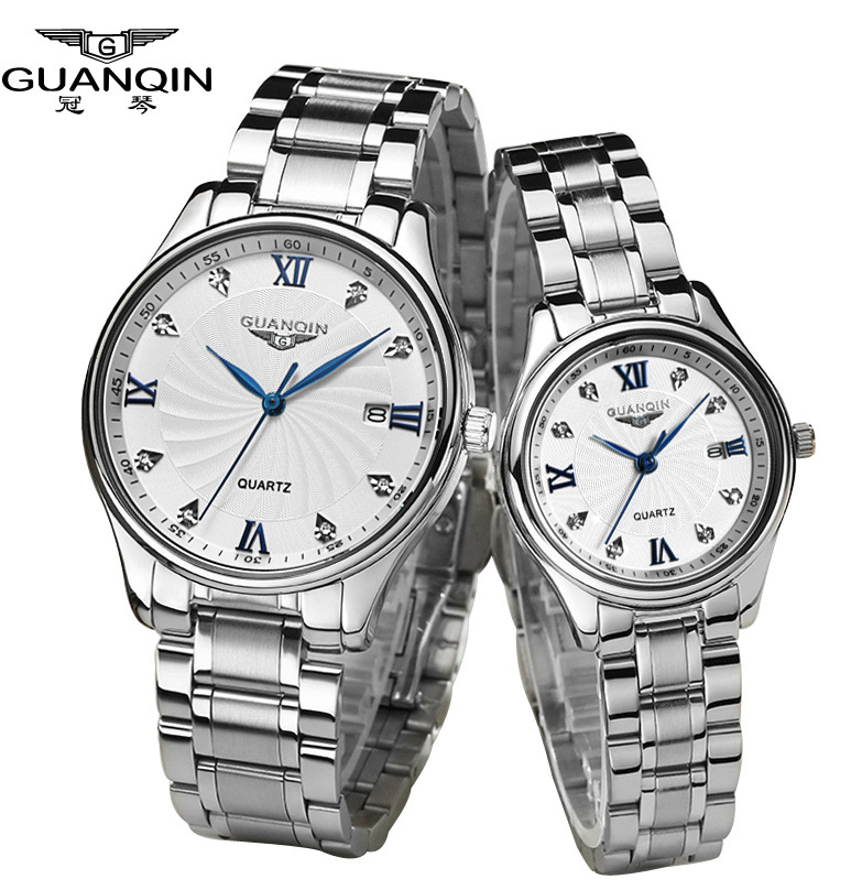 Original GUANQIN Diamond lovers wristwatches Full steel waterproof sapphire Luxury watch Quartz men and women watches one pair<br><br>Aliexpress