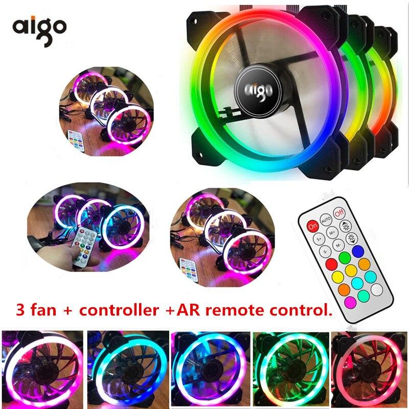 Aigo RGB fan 120mm  cooler Computer fan LED Dual  ...