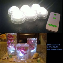12pcs/Lot SUPER Bright White Warm White LED Submersible Wedding Tower Vase Tea Light with/REMOTE(China)