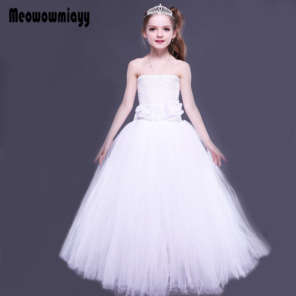 Kids dresses for girls wedding evening party dress 2018 kids off shoulder white teenage girls clothing flower girl tutu dresses<br>