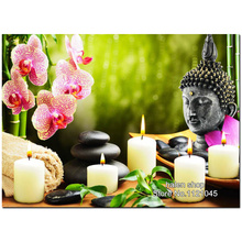 5D DIY Diamond Painting Orchid Buddha Crystal Square Rhinestone Pictures Cross Stitch Kits Diamond Embroidery Wall Decor VS271