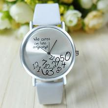 Cute and Just for You Women Leather Watch Who Cares I am Late Anyway Letter Watches Bayan Kol Saati Women Watches Fashisual