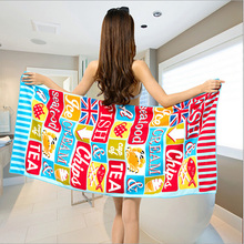 New Colorful Women Bath Towel Microfiber Fabric Soft Beach Towel Letter Printed Quick-drying Towels Hot Free Shipping