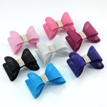120pcs/lot 18 Color 2.8 Inch Large Gold Dust PVC Hair Bows with Rhinestone Kids Headband Accessories HDJ107
