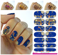 Nails Art Sticker Phoenix Design Flowers Decor Blue 3d Manicure Sticker Minx Nail Wraps Decals Cheap