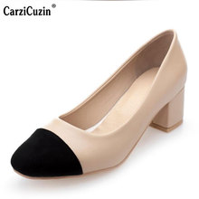 "CarziCuzin ""Size 30-50 Women Pumps Round Toe Square Heel Female Shoes Mixed Color Office Concise Laies Shoes  Classics Footwear"