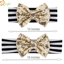 "Mom and Kids Matching Elastic Cotton Headband 2017 fashion Popular 5"" Gold Sequins Bow White/Black Striped Hair Accessories(China)"