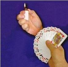 free shipping Lighter To Card Fan - magic trick, card magic illusions,novelties party/jokes,fire magic props