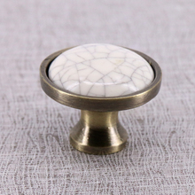Single Hole Antique Crack Design Wardrobe Door Knobs Handles Ceramic Cabinet Drawer Knobs European Furniture Hardware
