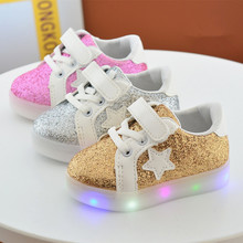 2017 Fall new fashion five-pointed star spark powder gold leather light-emitting LED flash male and female children leisure ligh