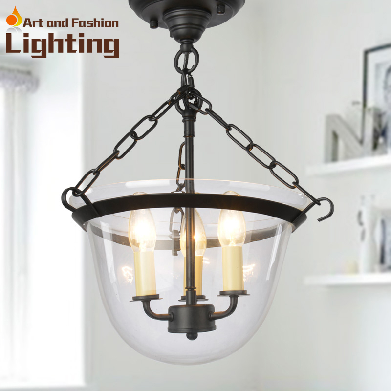 Modern Iron chain ceiling lights with transparent glass light shade<br><br>Aliexpress