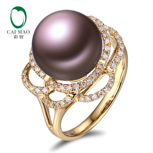 18k Yellow Gold precious 11-12mm Round Freshwater Pearl Ring 0.36ct Natural Diamond manufacturer Free Shipping(China)