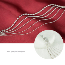 Real 925 Sterling Silver Round Bead Ball Chain Necklace for Women Men Girls Boys Fashion Party Costume Jewelry Festive Hot Gift(China)