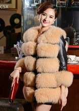 Alishebuy New On Sale 2014 Women's Autumn Winter Fur Coat Parka Faux Fur Thickening Slim Round Neck Plus Size Leather Jacket 29