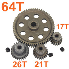 11184 Steel Metal Spur Diff Differential Main Gear 64T Motor Pinion Gears 17T 21T 26T 11176 11181 11119 For HSP Redcat Exceed RC